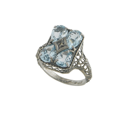 Semi Precious Stone Filigree Ring (Blue Topaz)