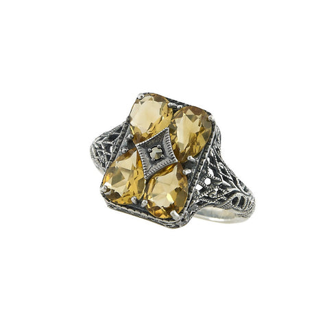 Semi Precious Stone Filigree Ring ( Citrine )