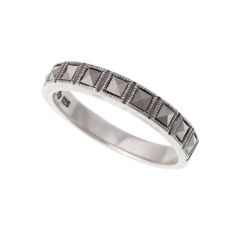 Pyramid cut  Marcasite  simple band Ring