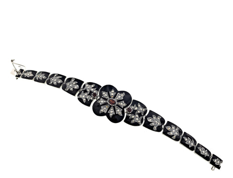 Victorian style Black Enamel Bracelet with Marcasite and Garnet