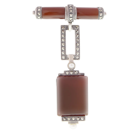 Large Art-Deco Dangling Brooch (Carnelian )