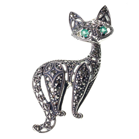 Marcasite Cat Brooch Pin