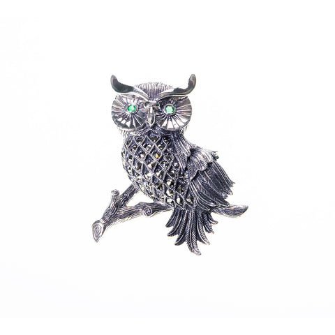 Wise Owl Marcasite Brooch Pin