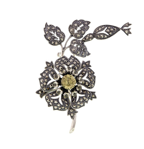 Retro style Marcasite and Lemon Quartz Floral Brooch Pin