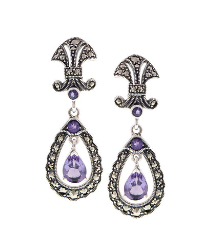 Antique inspired Drop Earrings with semi precious stones (Amethyst)
