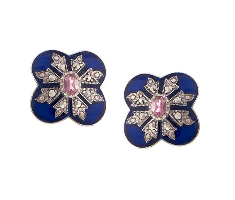 Victorian style Blue Enamel Stud Earrings