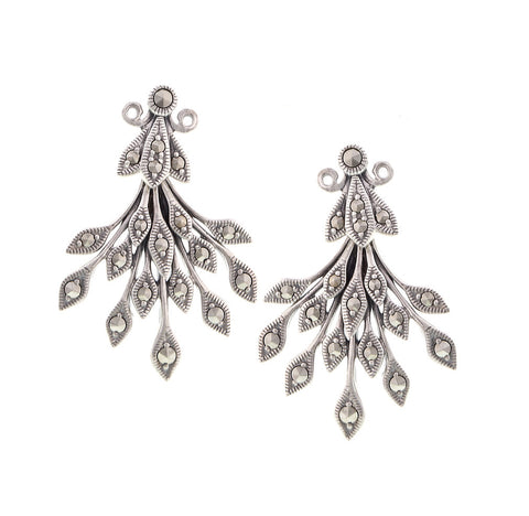 Marcasite Vine leaves Dangling Earrings