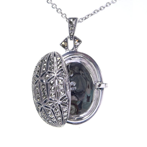 Small Marcasite Locket Pendant