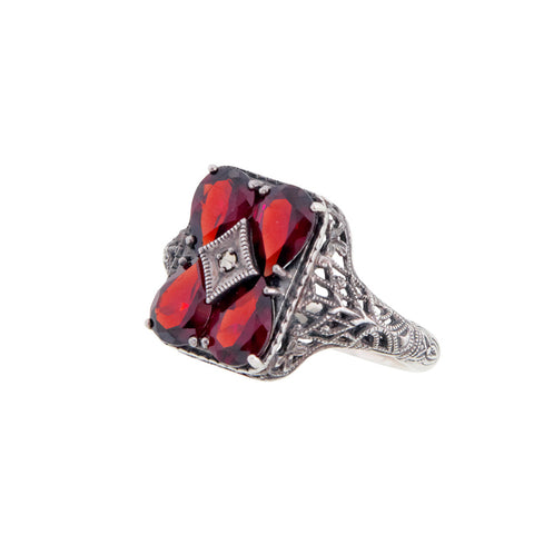 Semi Precious Stone Filigree Ring (Garnet)
