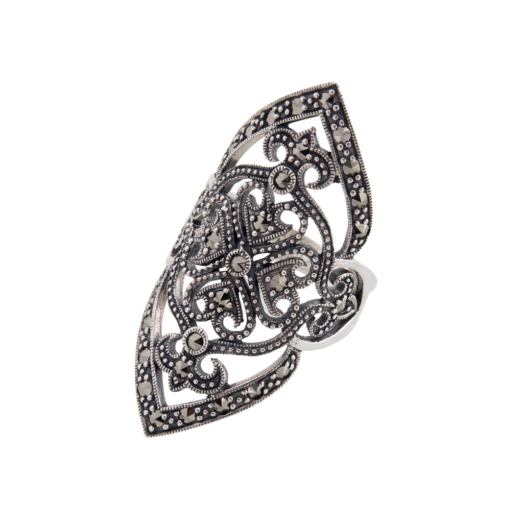 Elongated Marcasite Ring - Art-Deco Antique Reproduction 925 sterling  silver large ring with marcasite 59d868d6ced2