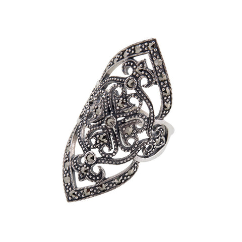 Elongated Marcasite Ring
