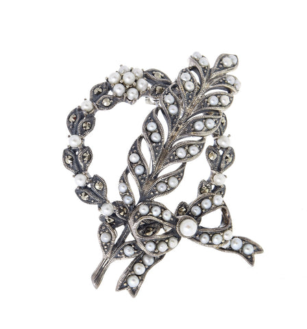 Seed Pearls and Marcasite Wreath Brooch