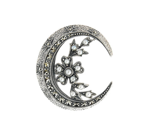 Seed Pearl Small Crescent Brooch Pin
