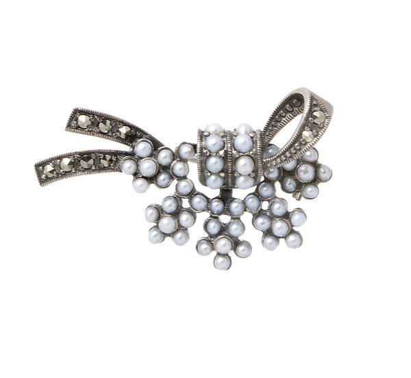Seed Pearls and Marcasite Wedding Bouquet Brooch