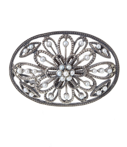 Seed Pearl and Marcasite Oval Brooch Pendant