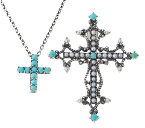 Turquoise and Seed Pearl Double Cross Brooch Pin / Pendant
