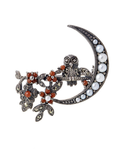 Crescent Moon and a Tiny Owl Brooch