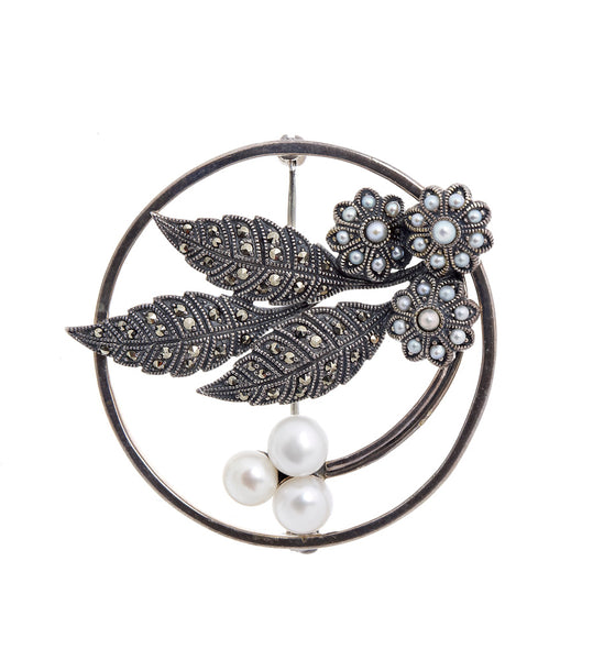 Pearl and Marcasite Zen Brooch Pin
