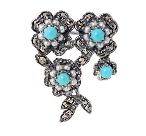 Turquoise Mini Floral Brooch Pin