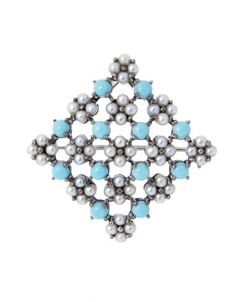 Turquoise and Seed Pearl Square Brooch