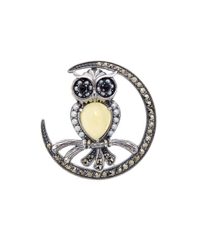 A Big Owl on Crescent Moon Brooch