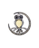 Victorian Antique Reproduction 925 Sterling Silver Owl and Crescent Brooch Pin with Seed Pearls, Marcasite, Onyx and Honey Opal, Victorian fashion & etc, designed by R.Victorian New York online jewelry store