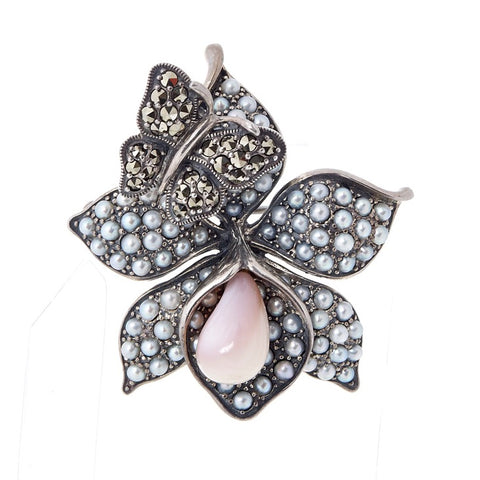 Flower and Butterfly Brooch