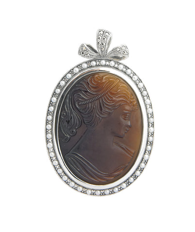 Vintage Glass Cameo Brooch Pin / Pendant ( Brown )