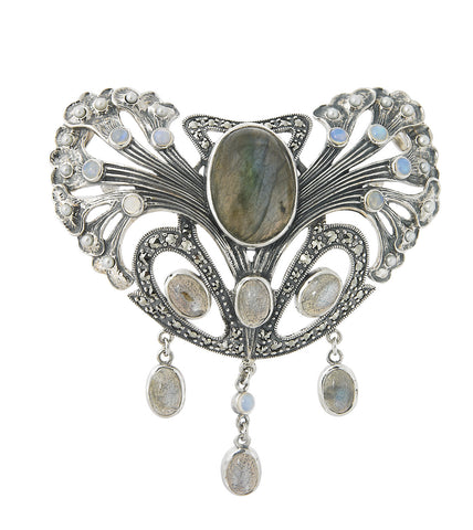 Majestic Art-Nouveau Brooch with Labradorite