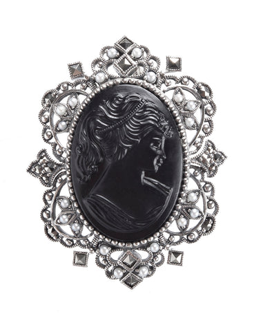 Vintage Glass Cameo Decorative Brooch Pin / Pendant ( Black )