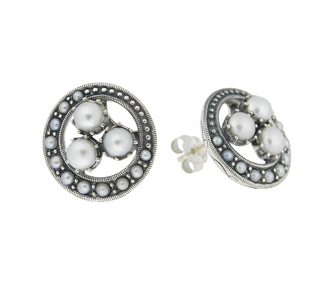 Seed Pearl Circular Stud Earrings