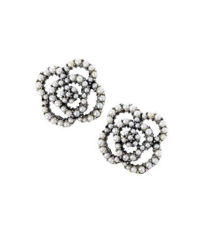 Seed Pearl Camellia Stud Earrings