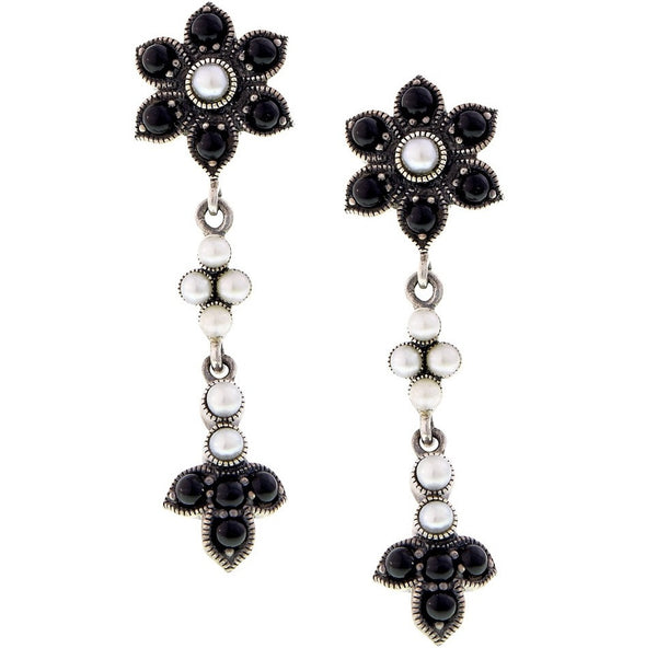 Black Onyx and Seed Pearl Floral Dangling Earrings