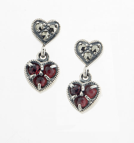 Petite Heart Dangling Earrings ( Garnet )