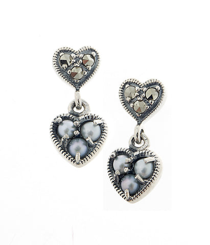 Petite Heart Dangling Earrings ( Seed Pearl )