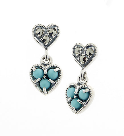 Petite Heart Dangling Earrings ( Turquoise )