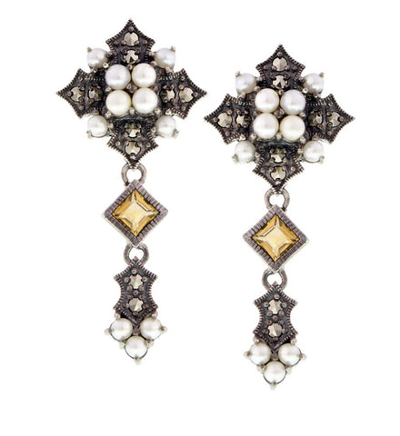 Citrine, Seed Pearl and Marcasite Deco-style Drop Earrings