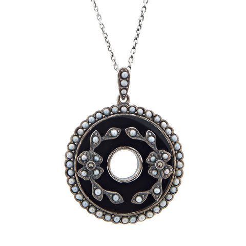 Onyx Holed Coin Shaped Pendant