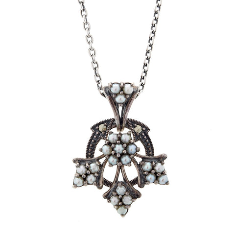 Seed Pearl and Marcasite Mini Chandelier Pendant