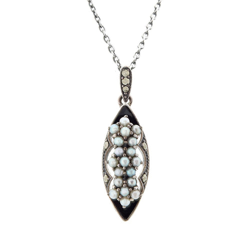 Onyx and Seed Pearl Small Marquise Pendant