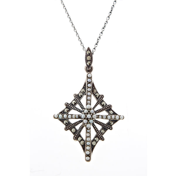 Seed Pearl and Marcasite Diamond Cross Pendant