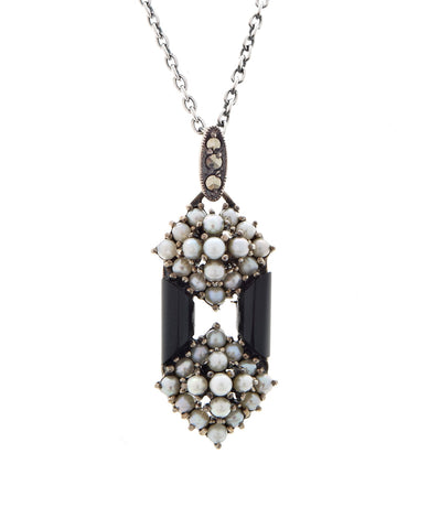Onyx and Seed Pearl Oblong Hexagon Pendant