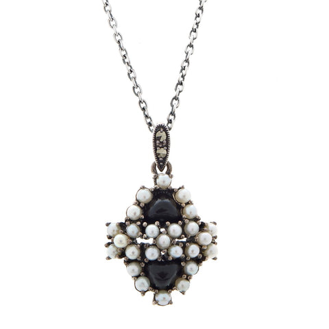 Onyx and Seed Pearl Small Cluster Pendant