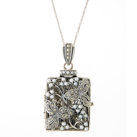 Seed Pearl and Marcasite Oblong Rectangle Locket Pendant (Pearl)