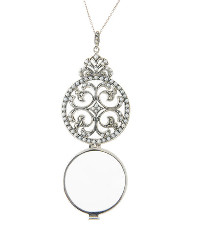 Seed Pearl and Marcasite Flip-Open Magnifier Pendant