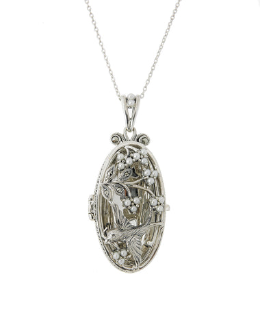 Seed Pearl and Marcasite Oblong Oval Locket Pendant