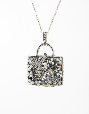 Seed Pearl and Marcasite Pocket Book Locket Pendant (Pearl)