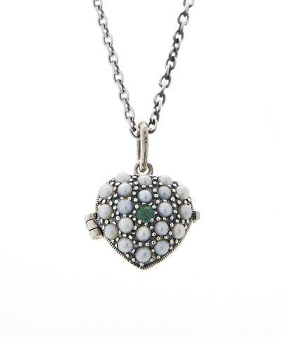Mini Puffy Heart Locket Pendant ( Emerald )