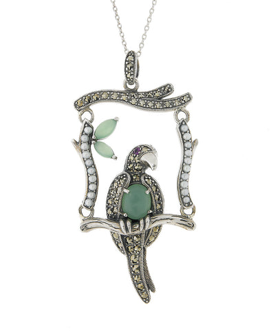 A Parrot On Perch Swing Pendant