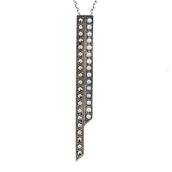 Seed Pearl and Marcasite Contemporary Pendant